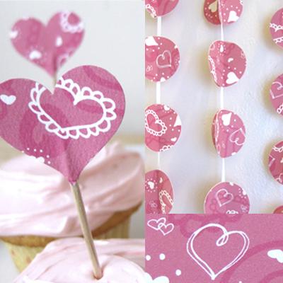 pink heart streamer