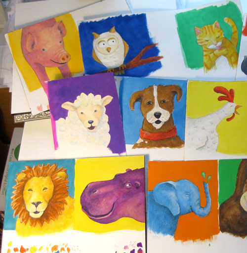 children's watercolor animals