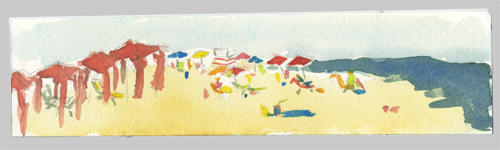 watercolor beach sketch