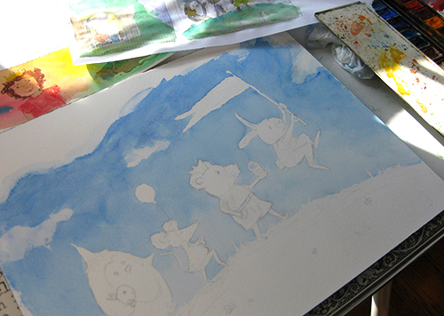 in progress watercolor children's art
