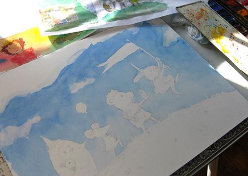 in progress watercolor children's art