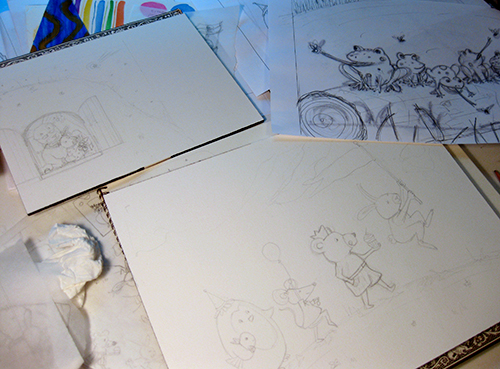 children's illustration sketches on table