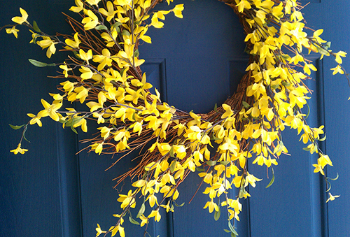 yellow forsythia wreath on front door