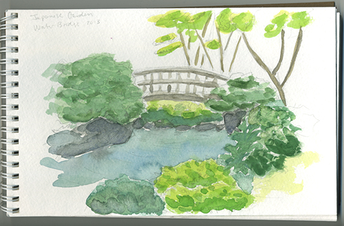 Photo of watercolor painting from Japanese Garden in Portland OR