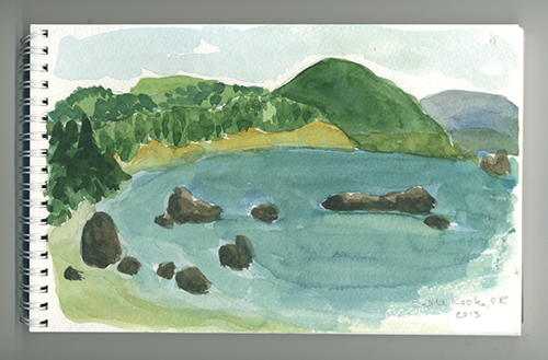 Photo of watercolor painting of OR coastline