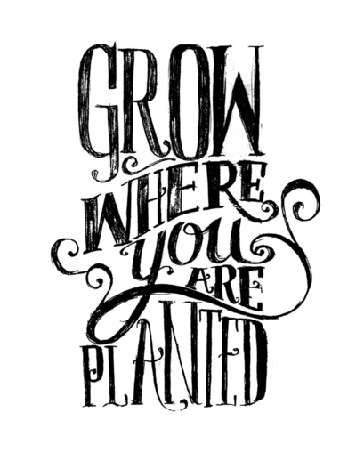 hand lettered quote about growing