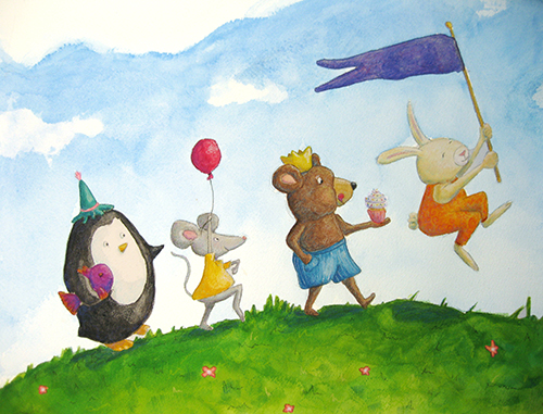 Penguin, Mouse, Bear, and Rabbit walking across hilltop
