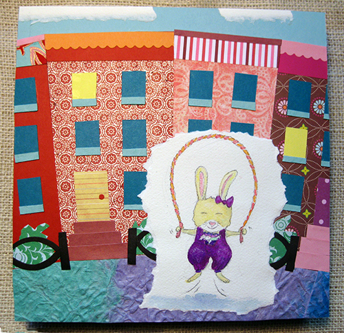 Watercolor and paper collage of cityscape and rabbit jump roping