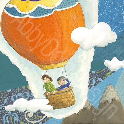 children's illustration of orange hot air balloon