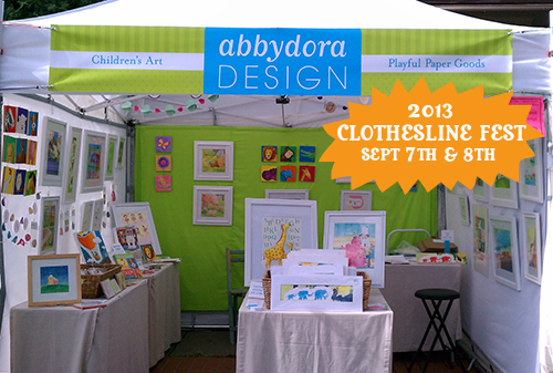 AbbyDora Design booth will be at Clothesline Fest in Rochester, NY