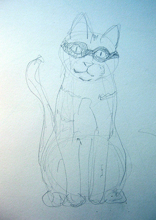 drawing of a cat wearing a mask