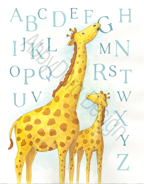 children's artwork featuring 2 giraffes and the alphabet