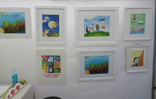 white frame watercolor paintings featuring nursery rhymes