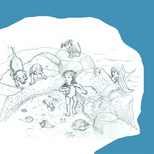 sketch of girls exploring a tide pool with mermaid behind rocks