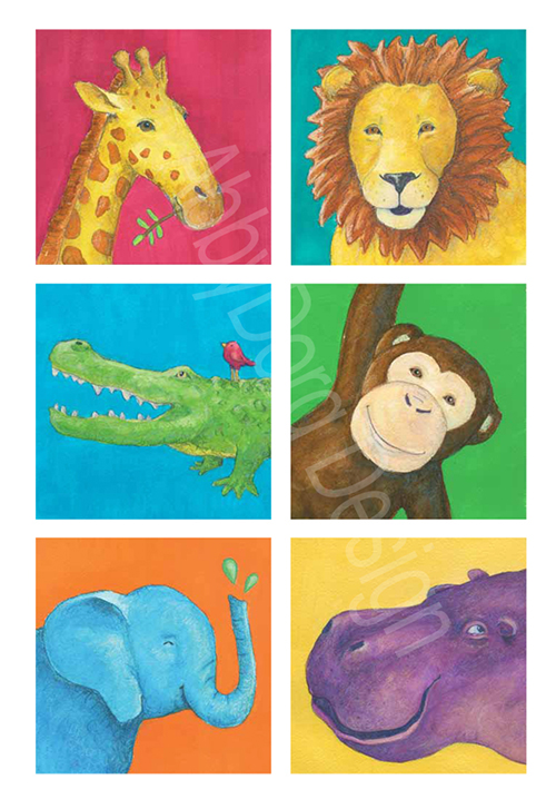 giraffe, lion, alligator, monkey, elephant, hippo painted in bright watercolors