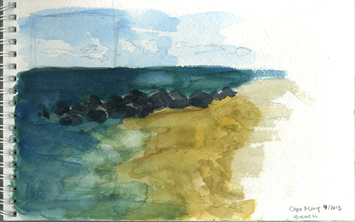 Cape May ocean sketch of beach