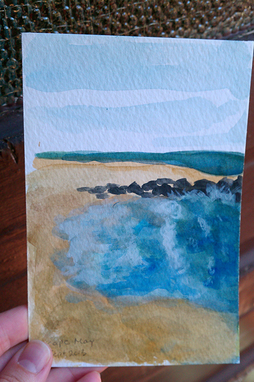 watercolor postcard of waves on beach