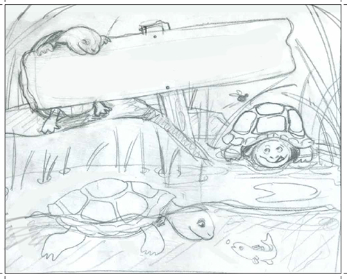 pencil drawing of 3 turtles in pond setting