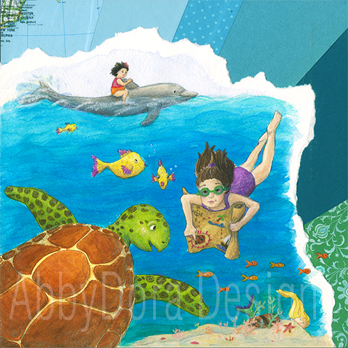 watercolor and paper collage of 2 sisters on an underwater treasure hunt