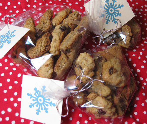 photo of cookie gift bags with snowflake tags
