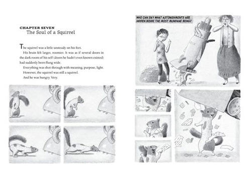 black and white book spread featuring drawings of a girl and her squirrel