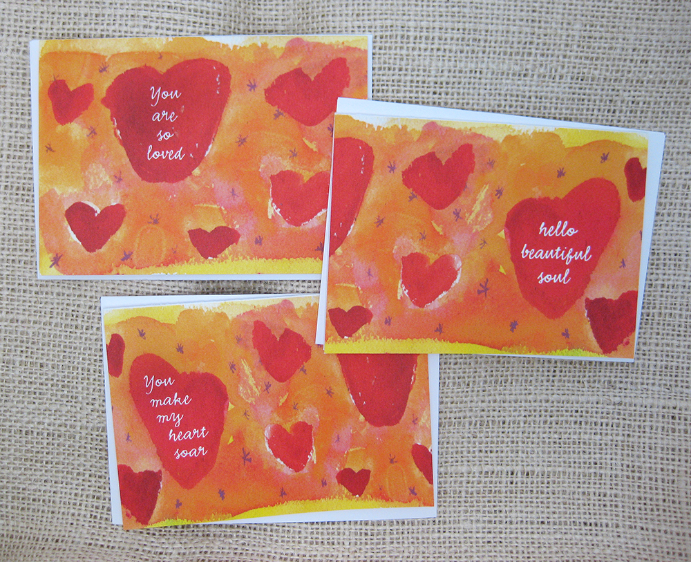 red, orange, and yellow inspirational heart valentine cards