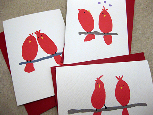 set of 3 red bird valentine cards