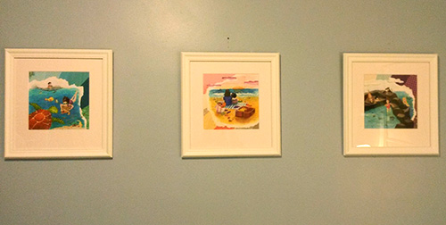 photo of 3 framed watercolor collages