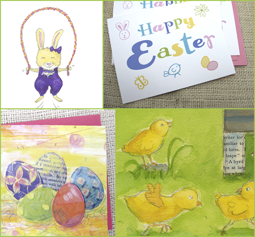 collage of spring colors of rabbit jumping rope and colored eggs