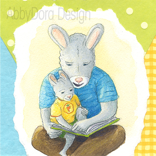 Watercolor of Dady bunny reading aloud to rabbit son sitting in lap