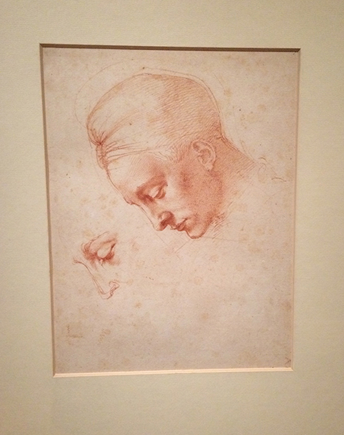 chalk drawing of female head by old master
