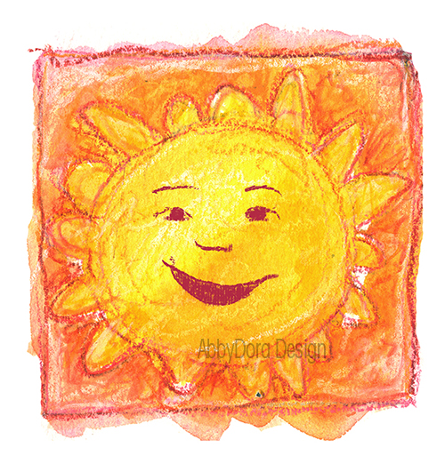 AbbyDora Design watercolor of smiling sun