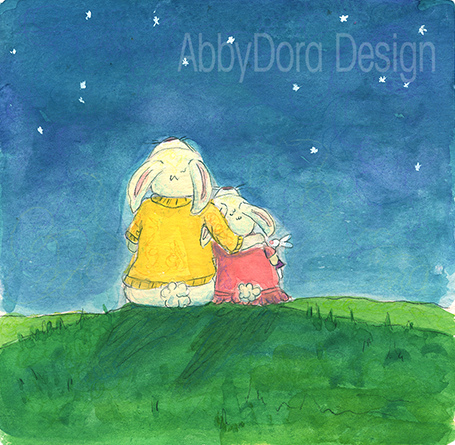 Mother Rabbit and Daughter Star Gazing | Mixed media on paper