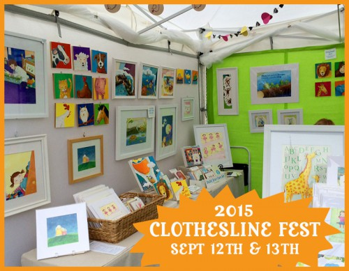 colorful art festival booth of children's art from Abby Dening