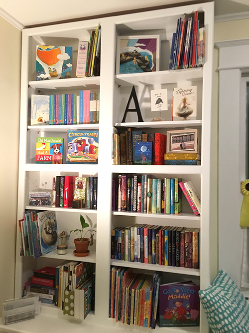 children's book designer's bookshelves