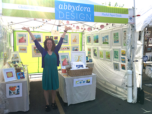 photo of AbbyDora Design booth at Clothesline Festival in Rochester