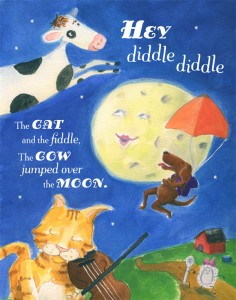 hey diddle cat fiddle illustration