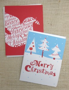 handmade blue red holiday cards