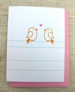 heart birds notecard