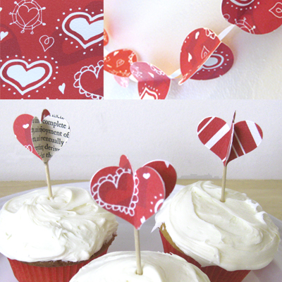 vintage paper heart cupcake toppers