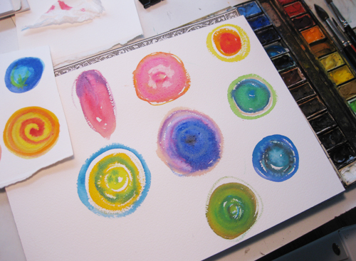 colorful watercolor washes