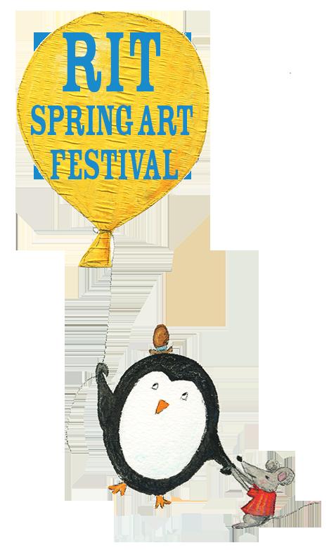 penguin children's illustration with large balloon