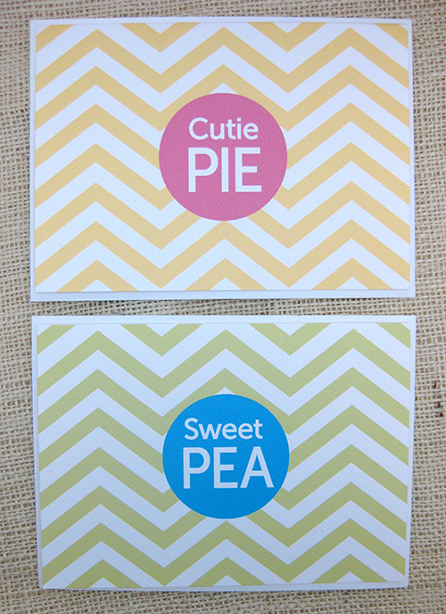 chevron cutie pie and sweet pie cards