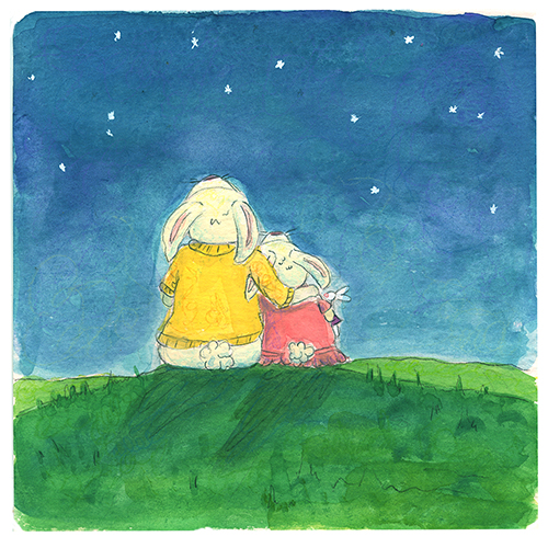 Mother and Daughter Rabbit star gazing outside