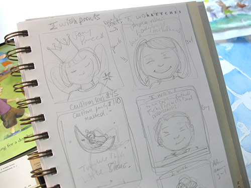 little girl wish print sketches