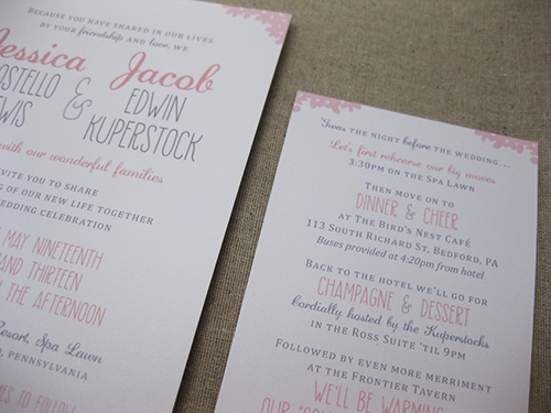 champagne toast and wedding invitation