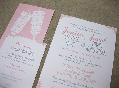 pink script wedding stationery