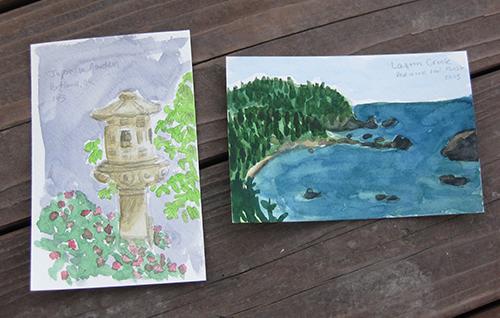 Photo of handmade watercolor postcards
