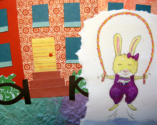 Brooklyn street paper collage with bunny jumping rope