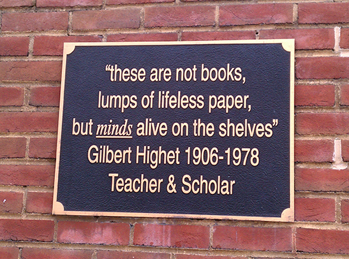 photo of plaque of book quote from Gilbert Highet